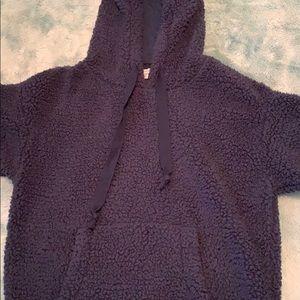 xs fluffy blue sweatshirt